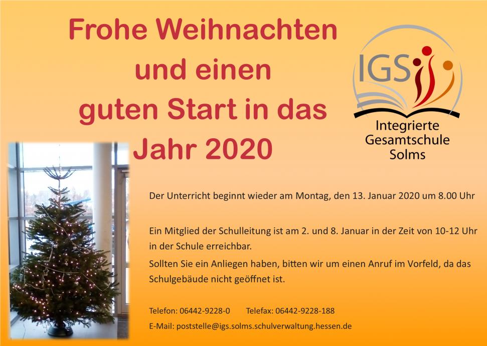 Weihnachtsferien 2020 hessen